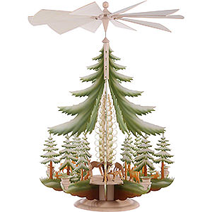 Christmas-Pyramids 1-tier Pyramids 1-Tier Pyramid - Carved Deer, Colored - 62x42 cm / 24x16 inch