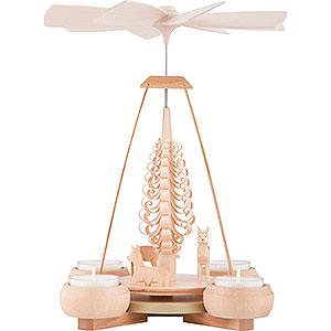 Christmas-Pyramids 1-tier Pyramids 1-Tier Pyramid - Carved Deer Figures - 24 cm / 9.4 inch