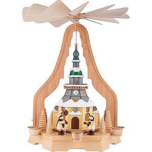 Christmas-Pyramids 1-tier Pyramids 1-Tier Pyramid - Church of Seiffen - 40 cm / 15.7 inch