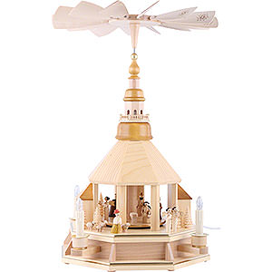 Christmas-Pyramids 1-tier Pyramids 1-Tier Pyramid - Church of Seiffen, Natural Wood - 52 cm / 20.5 inch
