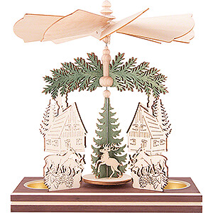 Christmas-Pyramids 1-tier Pyramids 1-Tier Pyramid - Forest House with Santa and Deer - 20 cm / 7.9 inch