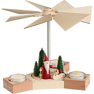Christmas-Pyramids 1-tier Pyramids 1-Tier Pyramid - Hexagonum Christmas Gnome with Sled - 20 cm / 7.9 inch
