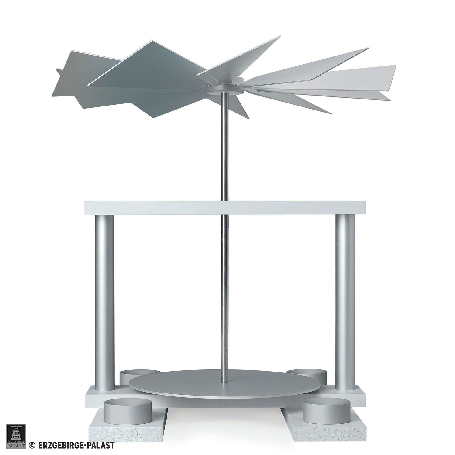 Christmas-Pyramids 1-tier Pyramids 1-Tier Pyramid LUMA without Figurines, White - 32 cm / 12.6 inch