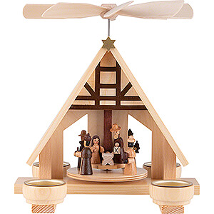 Christmas-Pyramids 1-tier Pyramids 1-Tier Pyramid - Nativity - Natural  - 23 cm / 9.1 inch