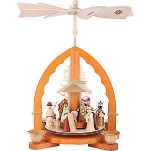 Christmas-Pyramids 1-tier Pyramids 1-Tier Pyramid - Nativity Scene Natural Wood - 27 cm / 11 inch