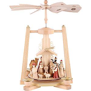 Christmas-Pyramids 1-tier Pyramids 1-Tier Pyramid - Nativity Scene - Natural Wood - 29 cm / 11 inch