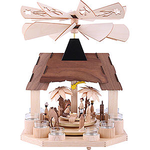 Christmas-Pyramids 1-tier Pyramids 1-Tier Pyramid - Nativity Scene with Two Counter Rotating Winged Wheels - 41 cm / 16 inch