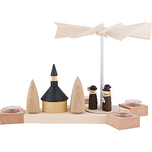 Christmas-Pyramids 1-tier Pyramids 1-Tier Pyramid Octogonum - Carolers with Church - 23 cm / 9.1 inch