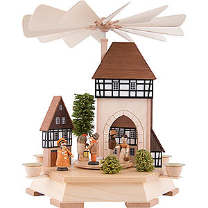 Christmas-Pyramids 1-tier Pyramids 1-Tier Pyramid - Old Town with City Gate, Natural - 32 cm / 12.6 inch
