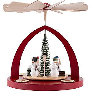 Christmas-Pyramids 1-tier Pyramids 1-Tier Pyramid - Snowmen, Ruby Red - 23 cm / 9 inch