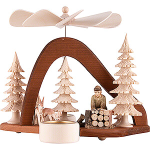 Christmas-Pyramids 1-tier Pyramids 1-Tier Pyramid - Solid Wood - Forest Worker - 17 cm / 6.7 inch