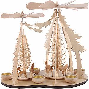 Christmas-Pyramids 1-tier Pyramids 1-Tier Pyramid - Two Winged Wheels - Deer in the Woods - 37x35 cm / 14.5x14 inch