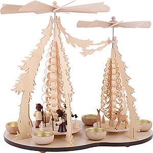 Christmas-Pyramids 1-tier Pyramids 1-Tier Pyramid - Two Winged Wheels - Forest People - 37x35 cm / 14.5x14 inch