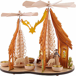 Christmas-Pyramids 1-tier Pyramids 1-Tier Pyramid - Two Winged Wheels - Nativity, Colored - 37x35 cm / 14.5x14 inch