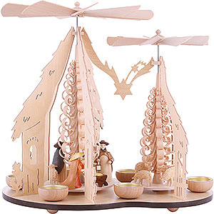 Christmas-Pyramids 1-tier Pyramids 1-Tier Pyramid - Two Winged Wheels - Nativity Scene - 37x35 cm / 14.5x14 inch