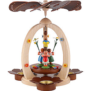 Christmas-Pyramids 1-tier Pyramids 1-Tier Pyramid with Flower Children - Natural Wood - 32 cm / 12.6 inch