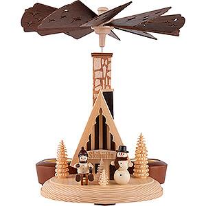 Christmas-Pyramids 1-tier Pyramids 1-Tier Smoking Pyramid - Ski Lodge - 26 cm / 10 inch