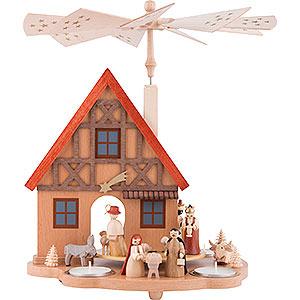 Christmas-Pyramids 1-tier Pyramids 1-Tier Table Pyramid House Nativity - 29 cm / 11.4 inch