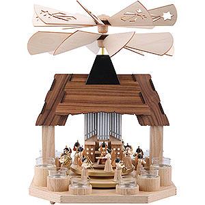 Weihnachtspyramiden 1-stöckige Pyramiden 1-stöckige Pyramide Engel mit zwei gegenläufigen Flügelrädern - 41 cm