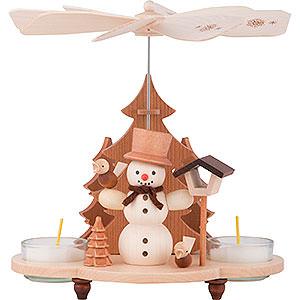 Weihnachtspyramiden 1-stöckige Pyramiden 1-stöckige Pyramide Schneemann - 19,5 cm