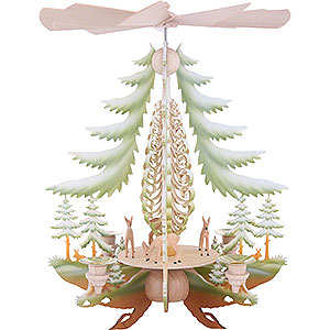 Weihnachtspyramiden 1-stöckige Pyramiden 1-stöckige Pyramide mit geschnitzten Rehen, farbig - 35 cm