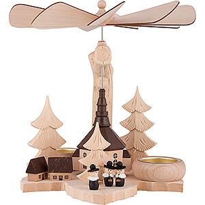 Weihnachtspyramiden 1-stöckige Pyramiden 1-stöckige Blattpyramide Kurrende mit Seiffener Kirche - 21 cm