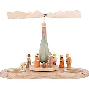 Weihnachtspyramiden 1-stöckige Pyramiden 1-stöckige Bogenpyramide Miniaturkrippe - 17 cm