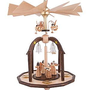 Weihnachtspyramiden 1-stöckige Pyramiden 1-stöckige Glöckchenpyramide mit Faltenlangrockengeln und Glasglöckchen - 38x28 cm