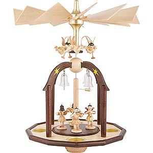 Weihnachtspyramiden 1-stöckige Pyramiden 1-stöckige Glöckchenpyramide mit sieben Engeln und Glasglöckchen - 38x28 cm