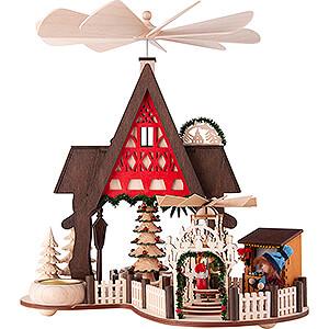 Weihnachtspyramiden 1-stöckige Pyramiden 1-stöckige Hauspyramide Fachwerkhaus-Weihnachtsmarkt - 30 cm