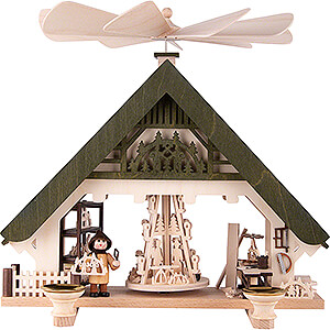 Weihnachtspyramiden 1-stöckige Pyramiden 1-stöckige Hauspyramide Kunsthandwerkerhaus grün - 28 cm