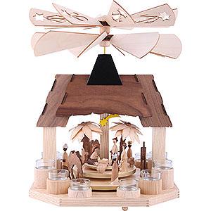 Weihnachtspyramiden 1-stöckige Pyramiden 1-stöckige Pyramide Christi Geburt mit zwei gegenläufigen Flügelrädern - 41 cm