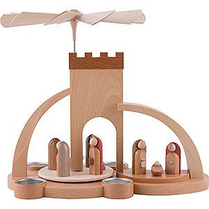 Weihnachtspyramiden 1-stöckige Pyramiden 1-stöckige Pyramide Christi Geburt - modern - 33 cm