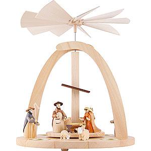 Weihnachtspyramiden 1-stöckige Pyramiden 1-stöckige Pyramide Krippenfiguren bunt - 33 cm