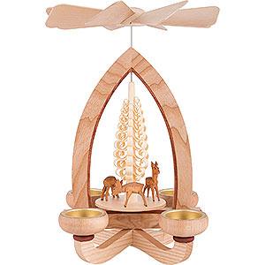 Weihnachtspyramiden 1-stöckige Pyramiden 1-stöckige Pyramide Rehe - natur - 28 cm
