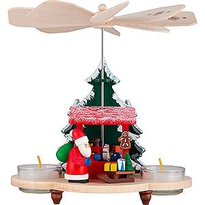 Weihnachtspyramiden 1-stöckige Pyramiden 1-stöckige Pyramide Weihnachtsmann auf Striezelmarkt - 19,5 cm