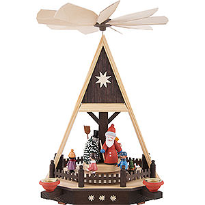 Weihnachtspyramiden 1-stöckige Pyramiden 1-stöckige Pyramide Weihnachtsmann mit Kindern - 33 cm