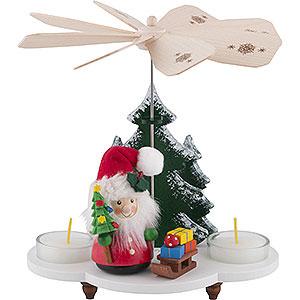 Weihnachtspyramiden 1-stöckige Pyramiden 1-stöckige Pyramide Weihnachtsmann mit Schlitten - 19,5 cm