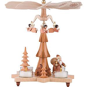 Weihnachtspyramiden 1-stöckige Pyramiden 1-stöckige Pyramide Weihnachtsmann natur - 27 cm