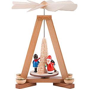 Weihnachtspyramiden 1-stöckige Pyramiden 1-stöckige Pyramide Weihnachtsmann und Striezelkinder - 23 cm