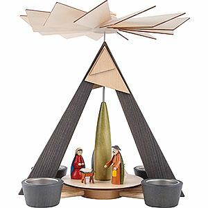 Weihnachtspyramiden 1-stöckige Pyramiden 1-stöckige Pyramide mit Christi Geburt, grau - 29 cm
