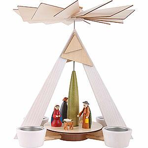 Weihnachtspyramiden 1-stöckige Pyramiden 1-stöckige Pyramide mit Christi Geburt, weiß - 29 cm