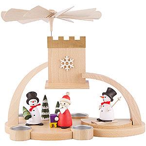 Weihnachtspyramiden 1-stöckige Pyramiden 1-stöckige Pyramide mit Schnee- Weihnachtsmann, natur - 29 cm