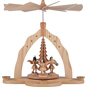 Weihnachtspyramiden 1-stöckige Pyramiden 1-stöckige Pyramide mit drei Engeln, natur - 28x27x30 cm