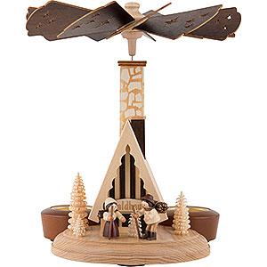 Weihnachtspyramiden 1-stöckige Pyramiden 1-stöckige Räucherpyramide Waldhaus - 26 cm