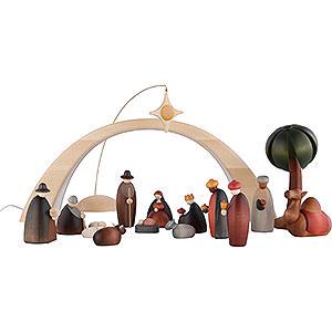 Kleine Figuren & Miniaturen Björn Köhler Krippe klein 17-teiliges Krippenset inklusive Lichtbogen und Stern