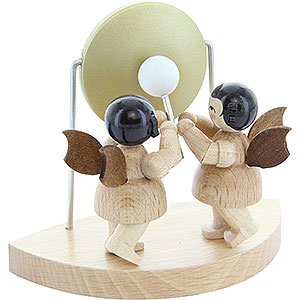 Angels Angels - natural - small 2 Angels with Big Gong Fitting Cloud Connector System - Natural Colors - Standing - 6 cm / 2,3 inch