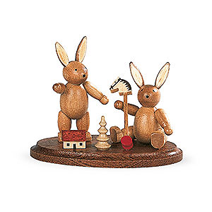 Small Figures & Ornaments Animals Rabbits 2 Easter Bunnies Playing - 4 cm / 2 inch