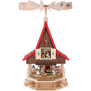 Christmas-Pyramids 2-tier Pyramids 2-Tier Adventhouse Angel's Bakery Electrically Driven by Richard Glässer- 53 cm / 21 inch