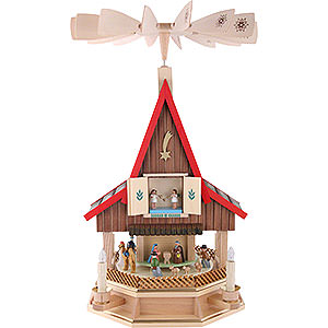 Christmas-Pyramids 2-tier Pyramids 2-Tier Adventhouse Electrically Driven Nativity Scene by Richard Glässer- 53 cm / 21 inch